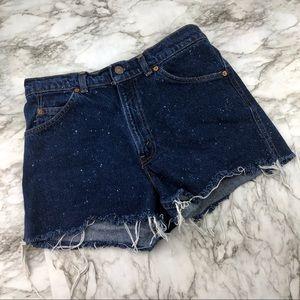 Vintage Levi Cut Off Distressed Jean Shorts Silver